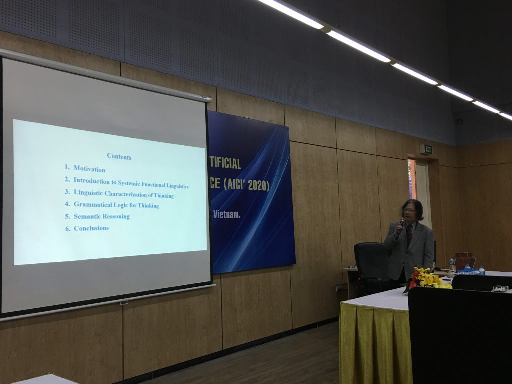 "Activity 7: Prof. Michio Sugeno (Japan) presents his keynote speech on ""Semantic Reasoning"" at AICI 2020."