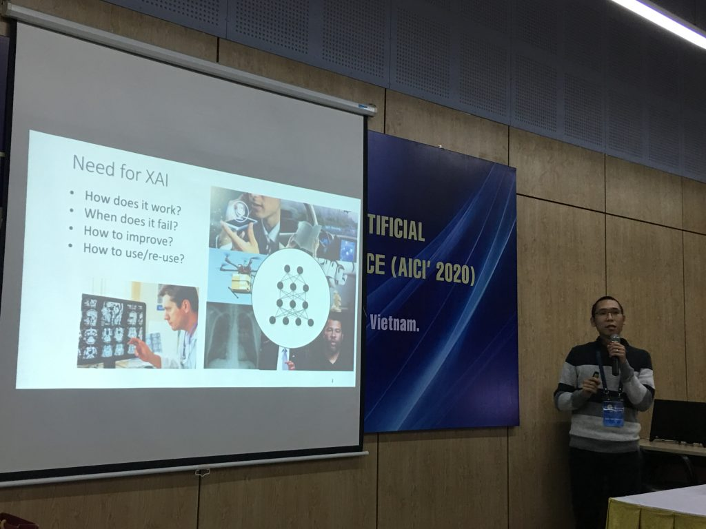 """Activity 8: Ass. Prof.  Anh Nguyen (USA) presents his keynote speech on """"Explainable AI"""" at AICI 2020."""