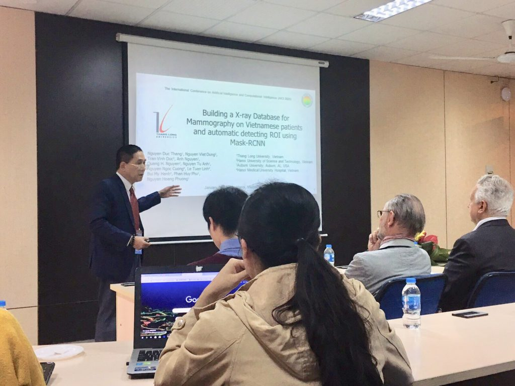 """Activity 15: Prof. Nguyen Hoang Phuong from Thang Long University, presents the first results of the joint project """"Developing a support diagnosis system for Breast Cancer Screening using AI (Deep Learning)"""" between the Thang Long University and the Hanoi Medical University Hospital at AICI 2020."""